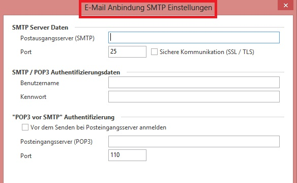 M Email Anbindung Einstellungen SMTP BP
