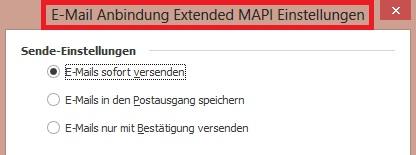 M Email Anbindung Einstellungen extendetMAPI BP