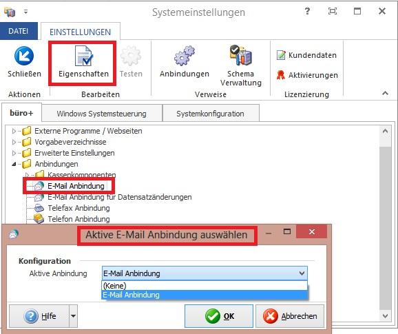 M Email Anbindung Systemeinstellung BP
