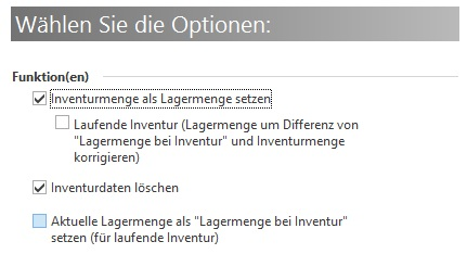 A Inventur auswerten Optionen BP MB